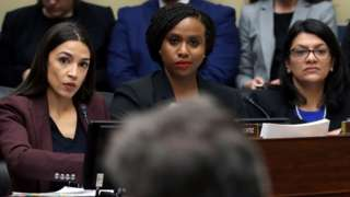 "Three members of ""the squad"": (L-R) Rep. Alexandria Ocasio-Cortez (D-NY), Rep. Ayanna Pressley (D-MA) and Rep. Rashida Tlaib (D-MI)"