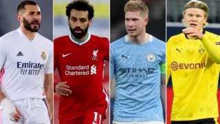 Karim Benzema, Mohamed Salah, Kevin de Bruyne and Erling Haaland