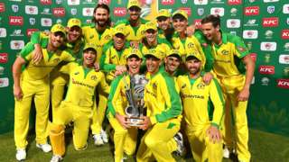 Australia with the T20 series trophy