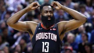 Houston Rockets guard James Harden looks perplexed by a referee decision