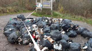 Rubbish bags dumped at Powerstock Common