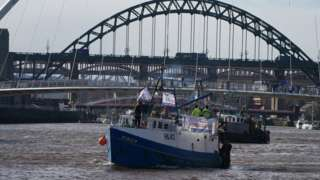Brexit flotilla on the Tyne