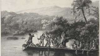Gravura de Rugendas mostra indios em uma canoa em meados do seculo 19
