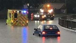 Flooding on Borges Boulevard, Peterborough