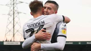 Coventry striker Matt Godden celebrated the second of his three goals against Wycombe at Adams Park with Jordan Shipley