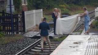 Wedding photos on a railway line