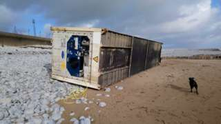 shipping container on beach