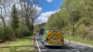 Crash investigation on A494 between Dolgellau and Rhydymain near Bontnewydd