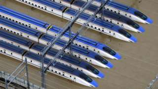 The Hokuriku-Shinkansen line trains were parked in a yard in Nagano city