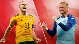 Wales' Gareth Bale and Denmark's Kasper Schmeichel