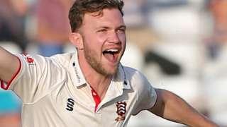Essex bowler Sam Cook celebrates the wicket of a Northamptonshire batsman
