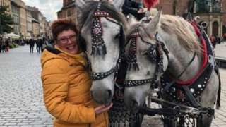 Tracey Pritchard with two horses