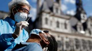 A man is tested for coronavirus in Paris, France