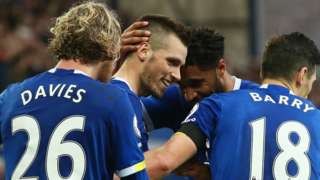 Everton's players celebrate Morgan Schneiderlin's goal against West Brom
