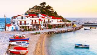 Kokkari village on Samos island, Greece