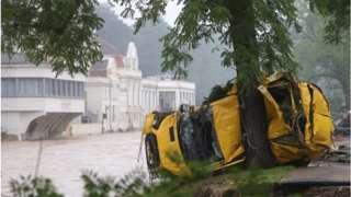 Wrecked car in German floods