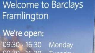 The Barclays sign which says Framlington