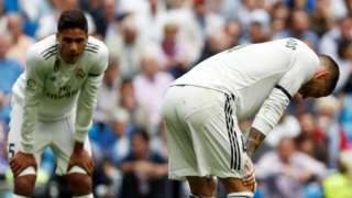 Real Madrid's Raphael Varane (left) and Sergio Ramos