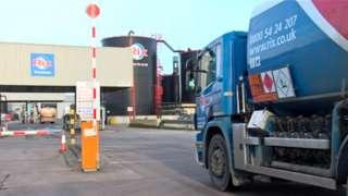 Petrol tanker outside Rix factory