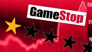 Gamestop logo and one star review set over a share price ticekr