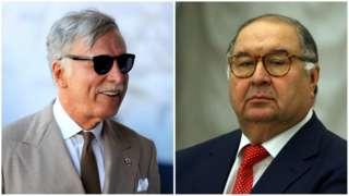 Arsenal majority shareholder Stan Kroenke (left) and Alisher Usmanov