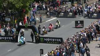 Motorcycles at the start line on the TT course