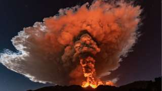 Etna has sent up magnificent plumes of orange smoke