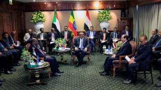 Shugaba Abdel Fatta al-Sisi na Masar, Omar Al-Bashir na Sudan da Firai Ministan Habasha Heilemariam Desalegn