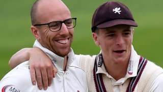 Somerset duo Jack Leach and Tom Abell celebrate a wicket