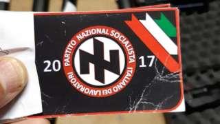 Налепница са симболом самозване Национално социјалистичке радничке партије Италије