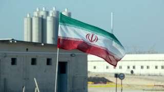Iranian flag in Iran's Bushehr nuclear power plant on 10 November 2019