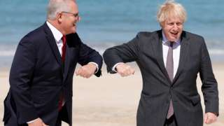Scott Morrison and Boris Johnson