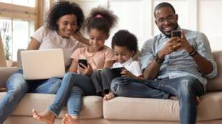 Family all using different devices