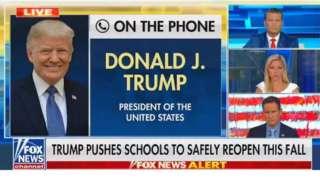 Tela de televisão mostra entrevista de Trump à Fox News