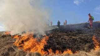 Moorland fire at Rushup Edge, near Castleton