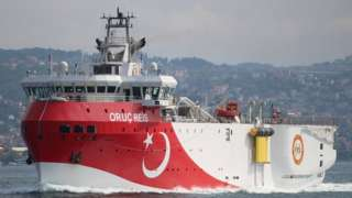 Turkish seismic research vessel Oruc Reis sails in the Bosphorus in Istanbul, Turkey, October 3, 2018