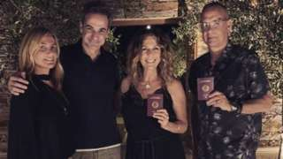 Tom Hanks and Rita Wilson pictured with Greece's prime minister and his wife