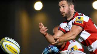 Greig Laidlaw plays the ball for Gloucester