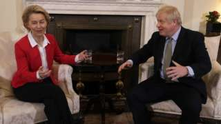 British Prime Minister Boris Johnson meets EU Commission President Ursula von der Leyen at 10 Downing Street on January 8, 2020 in London