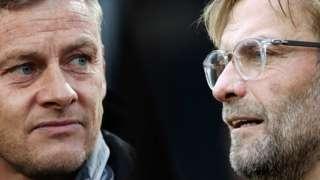 Manchester United manager Ole Gunnar Solskjaer and Liverpool boss Jurgen Klopp