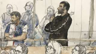 Court sketch on February 4, 2020, shows Gilbert Chikli (r) and Anthony Lasarevitsch (l) during their trial at the Paris court house
