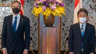 美國國務卿布林肯訪問日本,與日本外務大臣茂木敏充會面。