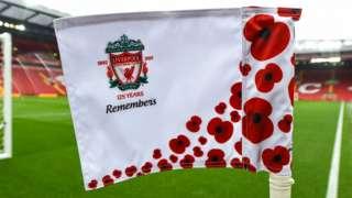 Poppy corner flag at Anfield