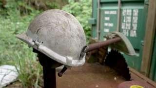 Miner's helmet outside the shaft