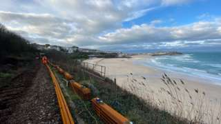 Railway track near St Ives being laid