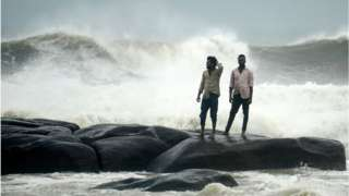 Waves at Kovalam beach as cyclone Nivar approaches the eastern Indian coast