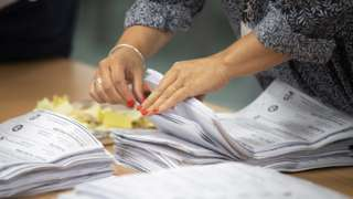 Counting votes in Wales in UK's European election, 26 May 19