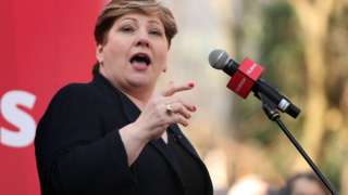 Emily Thornberry speaking at a rally in Nottinghamshire