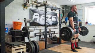 Mikey Lane training in his gym