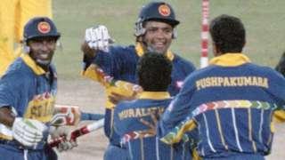 Sri Lanka celebrate winning the 1996 World Cup